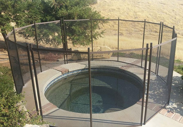 Black Mesh, Brown Trim Pool Fence