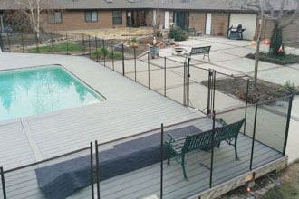 Wood Deck Above Ground Pool Fencing